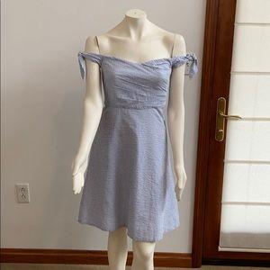 J Crew NWT blue/white seersucker dress# Size 4p